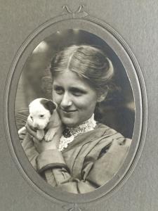 Erma Rebecca Frederick, with Flake, 1909.